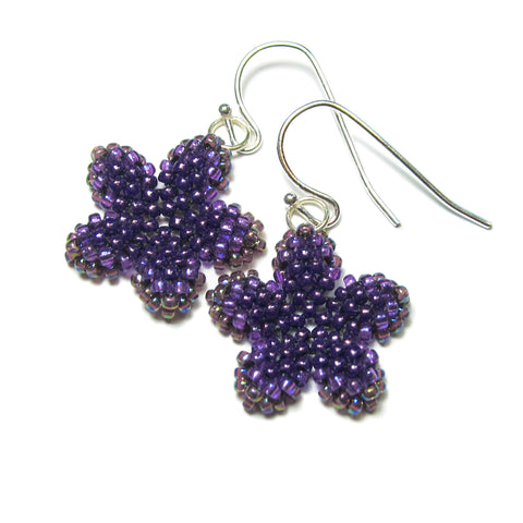 Heart in Hawaii Pua Kawaii - Tiny Plumeria Dangles - Amethyst Purple