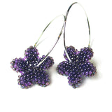 Heart in Hawaii Pua Kawaii - Tiny Plumeria Hoop Earrings - Amethyst Purple