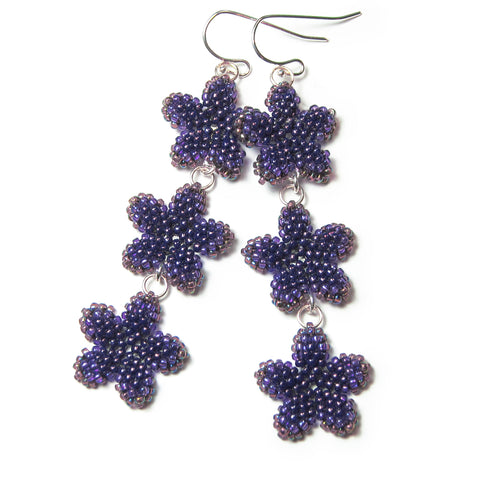 Heart in Hawaii Triple Plumeria Long Dangle Earrings - Amethyst Purple