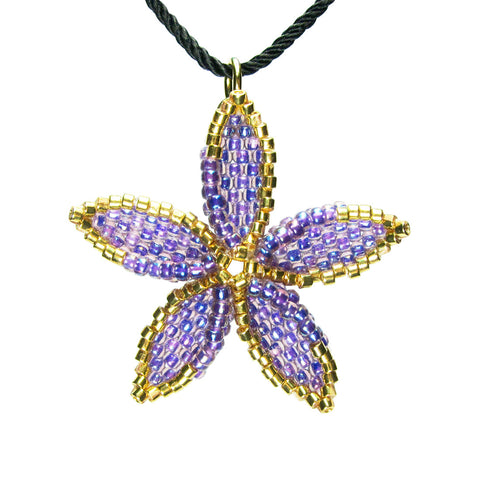 Heart in Hawaii Beaded Pua Pendant - Purple and Gold