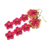 Heart in Hawaii Hibiscus and Plumeria Extra Long Dangle Earrings - Hot Pink and Gold