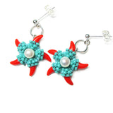 Heart in Hawaii Beaded Starfish Dangles with Pearls - Aqua and Red