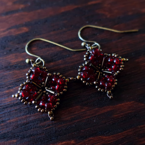 Temple Tree Quatrefoil Mandala Beaded Earrings - Dark Red and Bronze