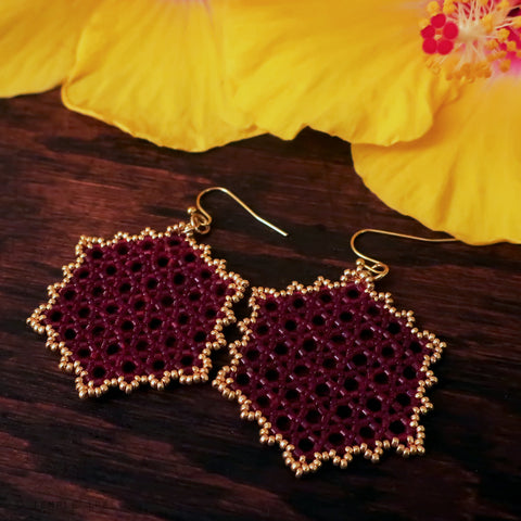 Temple Tree Hexagon Mandala Earrings - Gold-Lined Red - Large
