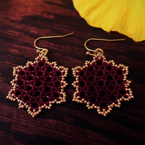 Temple Tree Hexagon Mandala Earrings - Gold-Lined Red - Medium