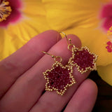 Temple Tree Hexagon Mandala Earrings - Gold-Lined Red - Tiny
