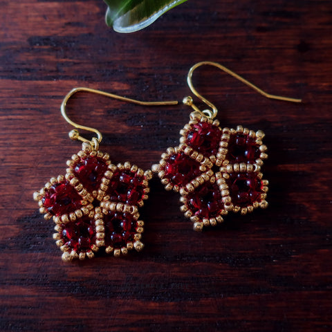 Temple Tree Mandala Flower Beaded Earrings - Dark Red and Gold
