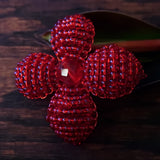Heart in Hawaii Makalapua Quatrefoil Beaded Flower Pin - Red