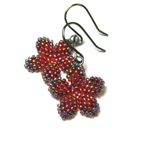 Heart in Hawaii Pua Kawaii - Tiny Plumeria Dangles in Red Ombre