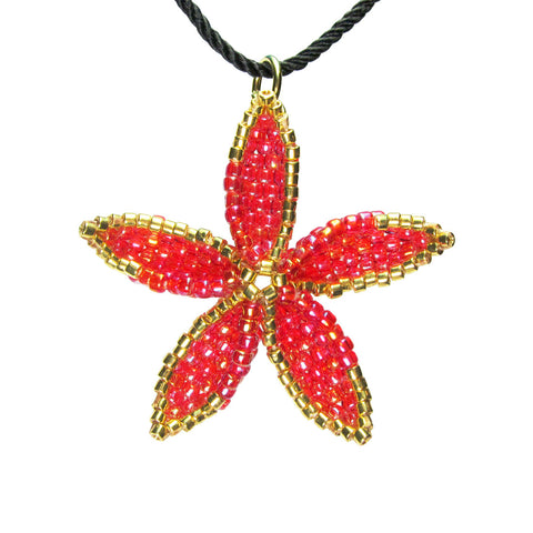 Heart in Hawaii Beaded Pua Pendant - Red with Bronze or Gold