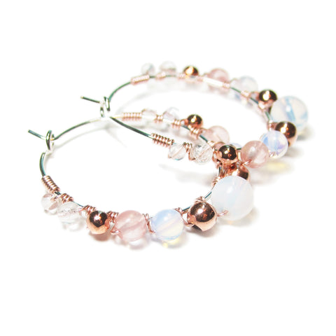 Heart in Hawaii Rose Gold and Opalite Wrapped Hoops