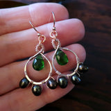 Heart in Hawaii Petal Drop Earrings - Forest Green - Rosegold