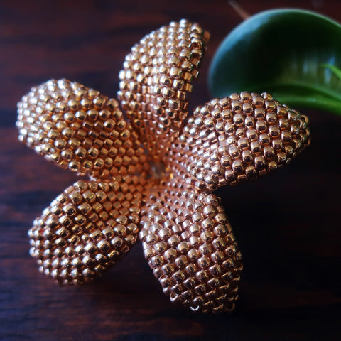Heart in Hawaii 2 inch Beaded Plumeria Flower Brooch - Rose Gold