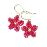 Heart in Hawaii Pua Kawaii - Tiny Plumeria Dangles - Ruby Pink and Gold