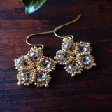 Temple Tree Mandala Flower Beaded Earrings - Sand and Gold