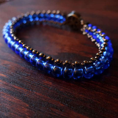 Temple Tree Boho Glass Bead Caterpillar Weave Bracelet - Sapphire and Bronze