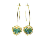 Heart in Hawaii Tiny Beaded Heart Hoops in Gold - Scarab