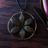 Temple Tree Seed of Life Flower Beaded Pendant - Bronze