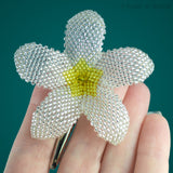 Heart in Hawaii Beaded Plumeria Flower - Sparkly Crystal with Yellow