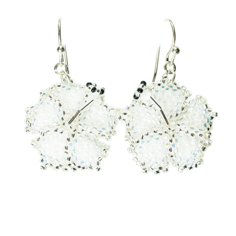 Heart in Hawaii Beaded Hibiscus Earrings - Sparkly White