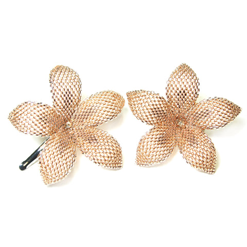 Heart in Hawaii Set of 2 Beaded Plumeria Clips - Sparkly Copper