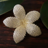 Heart in Hawaii 2 Inch Beaded Plumeria Flower Brooch - Sparkly Silver Crystal