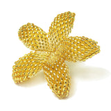 Heart in Hawaii Small Beaded Plumeria Flower Brooch - Sparkly Gold