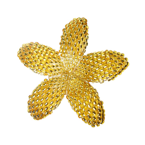 Heart in Hawaii 42mm Beaded Plumeria Flower Brooch - Sparkly Gold Crystal