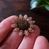 Heart in Hawaii Mini Beaded Sunflower Brooch - Sparkly Rosegold