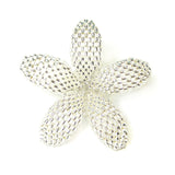 Heart in Hawaii Beaded Plumeria Flower Brooch - Sparkly Silver