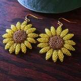 Heart in Hawaii Beaded Sunflower Earrings - Sparkly Yellow