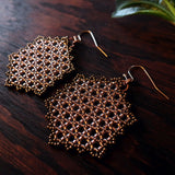 Temple Tree Hexagon Mandala Earrings - Sparkly Copper - Large