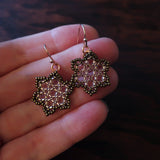 Temple Tree Hexagon Mandala Earrings - Sparkly Copper - Tiny