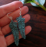 Heart in Hawaii Small Beaded Fern Frond Earrings - Blue Spruce