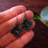 Temple Tree Quatrefoil Mandala Beaded Earrings - Teal and Bronze