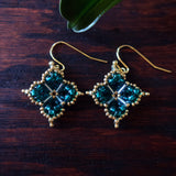 Temple Tree Quatrefoil Mandala Beaded Earrings - Teal and Gold