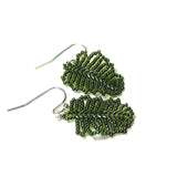 Temple Tree Tiny Beaded Monstera Leaf Earrings