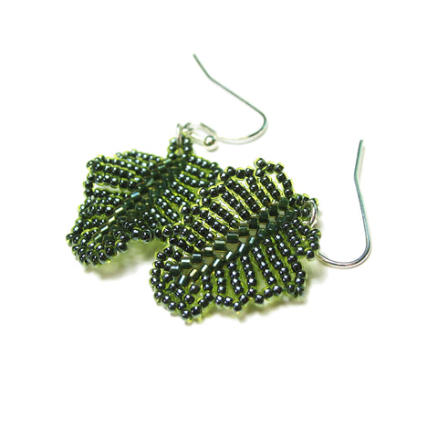 Heart in Hawaii Tiny Beaded Monstera Leaf Earrings