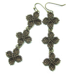 Heart in Hawaii Triple Ixora Flower Quatrefoil Earrings - Bronze