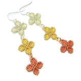 Heart in Hawaii Triple Ixora Flower Beaded Earrings - Tri Metal