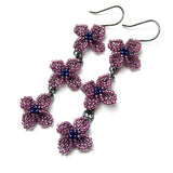 Heart in Hawaii Triple Lilac Flower Beaded Earrings - Dark Purple