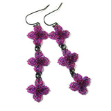 Heart in Hawaii Triple Ixora Quatrefoil Earrings - Ultraviolet