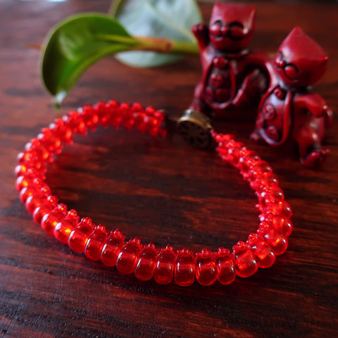 Temple Tree Bohemian Caterpillar Weave Bracelet - Transparent Light Red