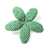Heart in Hawaii Small Beaded Plumeria Flower Brooch - Faux Turquoise