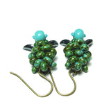 Heart in Hawaii Small Honu Earrings - Beaded Sea Turtle Dangles - Turquoise Green