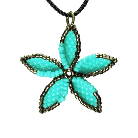 Heart in Hawaii Beaded Pua Pendant - Turquoise Blue