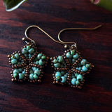 Temple Tree Mandala Flower Beaded Earrings - Faux Turquoise and Bronze