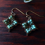 Temple Tree Quatrefoil Mandala Beaded Earrings - Faux Turquoise and Bronze