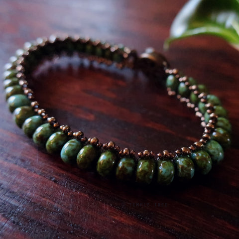 Temple Tree Boho Glass Bead Caterpillar Weave Bracelet - Turquoise and Bronze