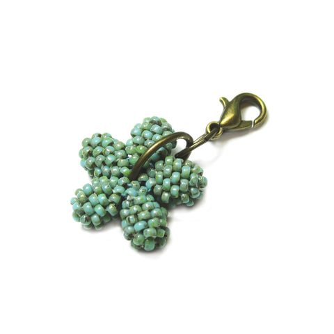 Heart in Hawaii Tiny Plumeria Flower Clasp Charm - Faux Turquoise